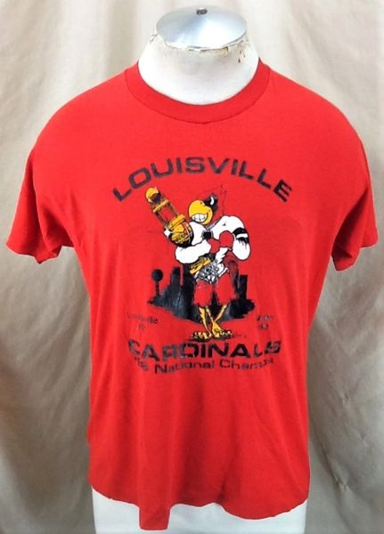 Vintage 1986 Louisville Cardinals National Champs (Med/Large) Retro NCAA Single Stitch Thin T-Shirt