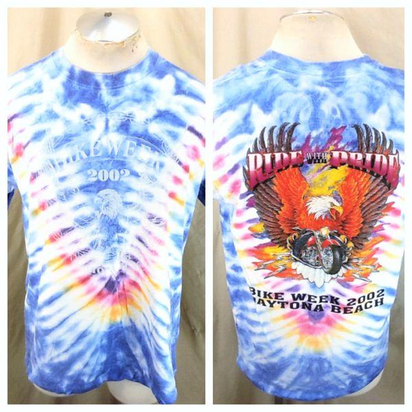 Vintage 2002 Daytona Beach Bike Week (XL) Retro Motorcycle Rally Tie-Dye Graphic T-Shirt