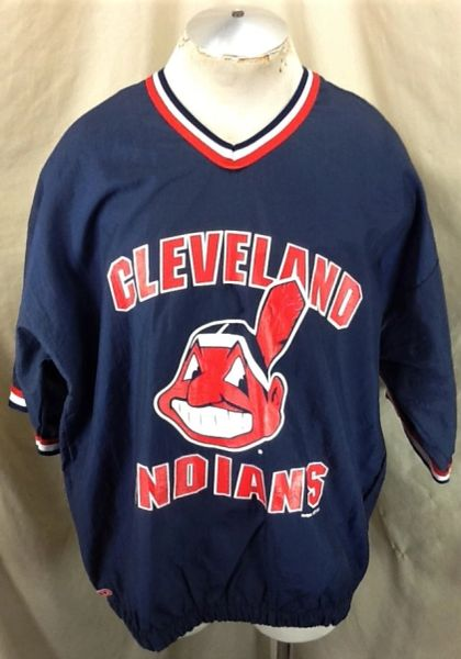 "Vintage 1995 Cleveland Indians ""Chief Wahoo"" (L/XL) Retro MLB Baseball Batting Practice Windbreaker"