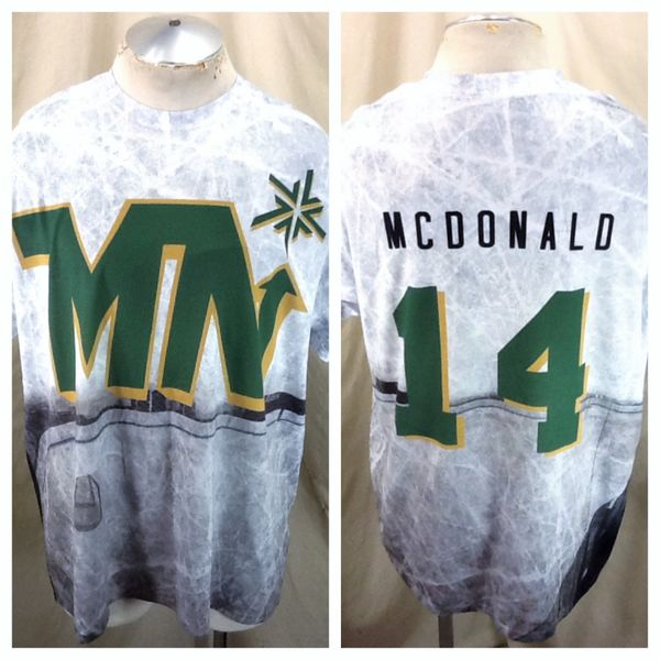 Minnesota North Stars Parker McDonald #14 (XL/2XL) Retro NHL Hockey All Over Graphic T-Shirt