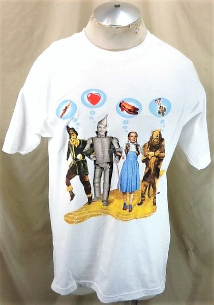 "Vintage 1998 The Wizard of Oz ""Iconic Characters"" (Large) Retro Warner Brothers Graphic T-Shirt White"