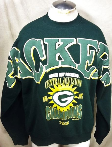 Vintage 1995 Green Bay Packers (XL) Retro NFL Division Champions Crew Neck Sweatshirt