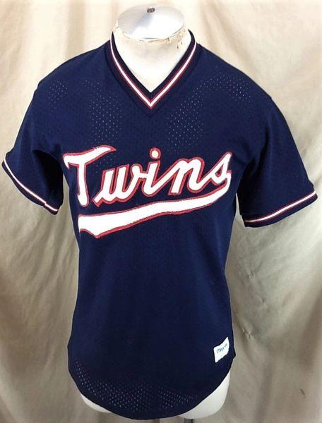 Vintage 1980's Majestic Minnesota Twins (Med) Retro MLB Stitched Navy Blue Baseball Jersey