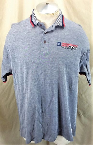 Vintage 90's GM General Motors Performance Parts (Large) NASCAR Racing Gray Polo Shirt
