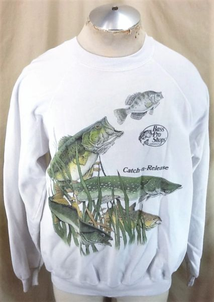 "Vintage 1989 Bass Pro Shops ""Catch-N-Release"" (2XL) Retro Fishing Outdoorsman Crew Neck Sweatshirt"