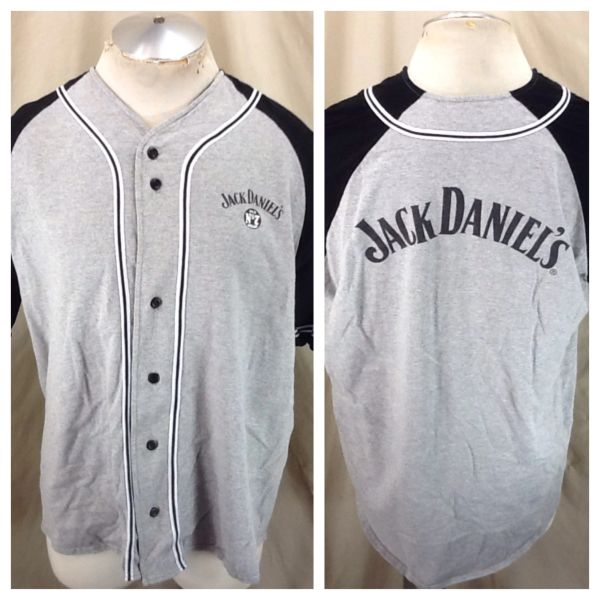 Jack Daniel's Old No. 7 Tennessee Whiskey (XL) Retro Button Up Graphic Gray Jersey