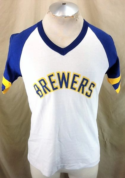 Vintage 80's Milwaukee Brewers Baseball (Med/Large) Retro MLB Graphic White T-Shirt