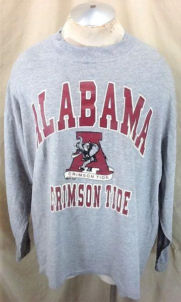 Vintage 90's Bike Alabama Crimson Tide (2XL) Retro NCAA Apparel Graphic Long Sleeve T-Shirt