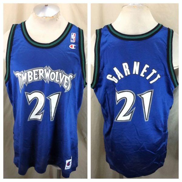 Vintage 90's Minnesota Timberwolves (48/XL) Kevin Garnett #21 Wolves NBA Basketball Jersey