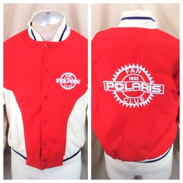 "Vintage 1995 Polaris Snowmobiles ""Fan Club"" (Med) Retro Gear Heads Snap Up Racing Jacket"