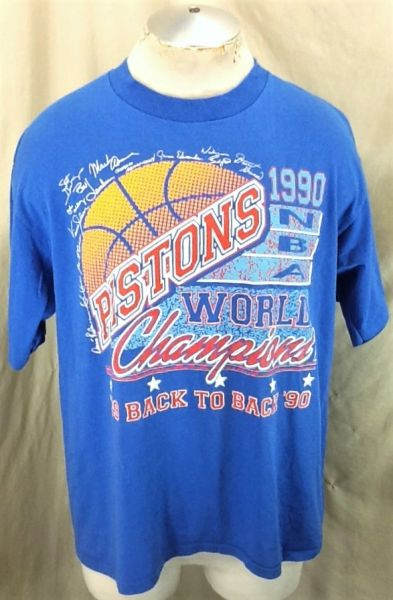 Vintage 1990 Detroit Pistons Back To Back Championships (XL) Retro NBA Graphic Single Stitch T-Shirt