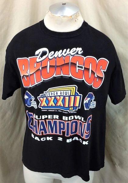 Vintage 1999 Denver Broncos Super Bowl Champions (Large Short) Retro NFL Football Graphic T-Shirt
