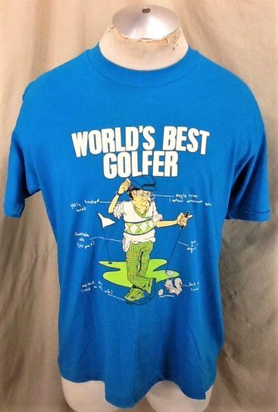 Vintage 90's World's Best Golfer (L/XL) Humorous Golfing Retro Single Stitch T-Shirt