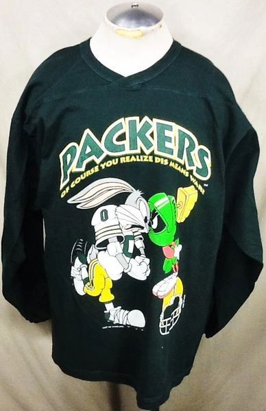 "Vintage 1993 Green Bay Packers ""Bugs & Marvin"" (XL) Retro NFL Football Graphic Long Sleeve Shirt"