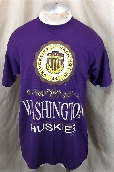 Vintage 1991 University of Washington Huskies (Large) Retro NCAA Single Stitch Graphic T-Shirt