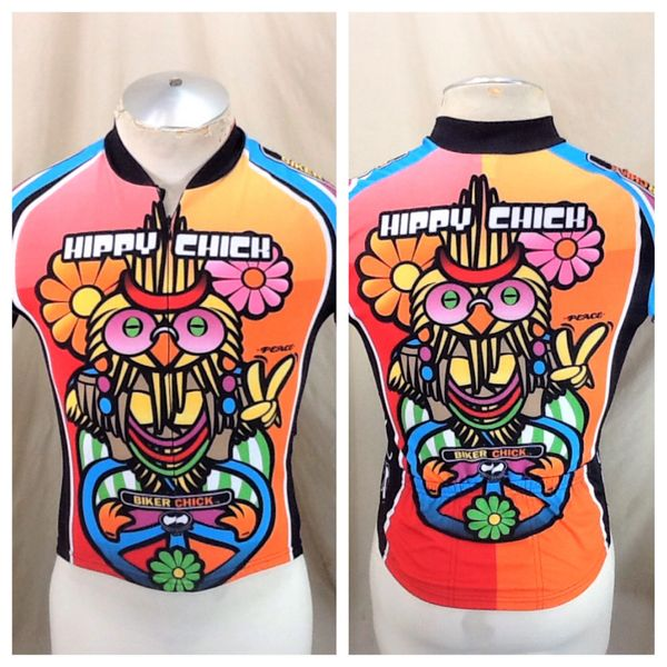 "World Jerseys Hippychick ""Biker Chick"" (Women's Small) 3/4 Zip Up Retro Graphic Cycling Jersey"