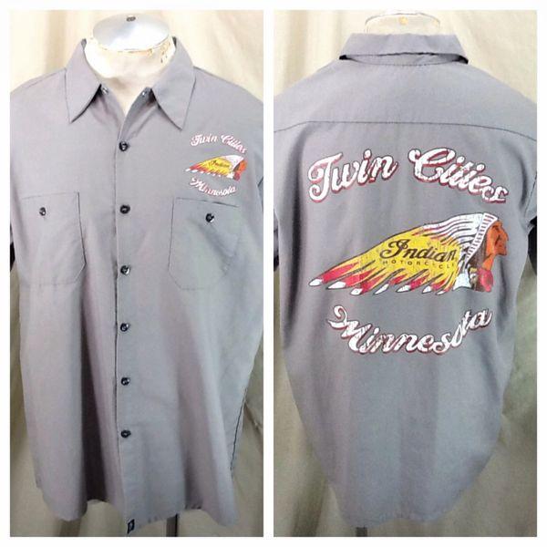 Indian Motorcycles Twin Cities Minnesota (XL) Retro Pinnacle Work Wear Button Up Shop Shirt