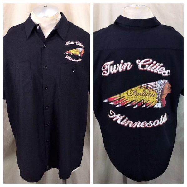 Indian Motorcycles Twin Cities Minnesota (XL) Pinnacle Work Wear Retro Button Up Shop Shirt