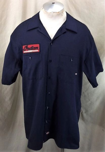 Dickies Indian Scout Motorcycles (XL) Retro Button Up Work Wear Cotton Shop Shirt