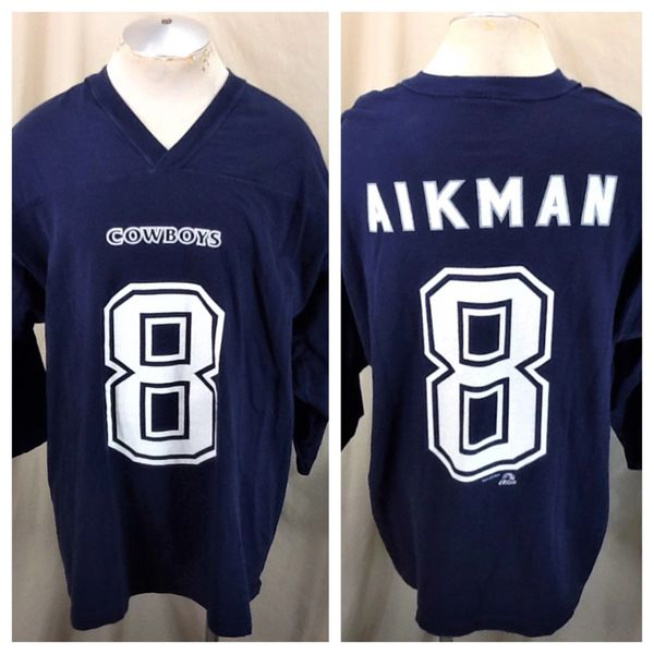 Vintage 1997 Dallas Cowboys Troy Aikman #8 (2XL) Retro NFL Screen Printed 3/4 Sleeve Jersey T-Shirt