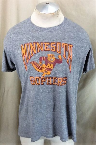 Vintage 90's Logo 7 Minnesota Gophers (L/XL) Retro NCAA Ultra Thin Rayon Gray T-Shirt