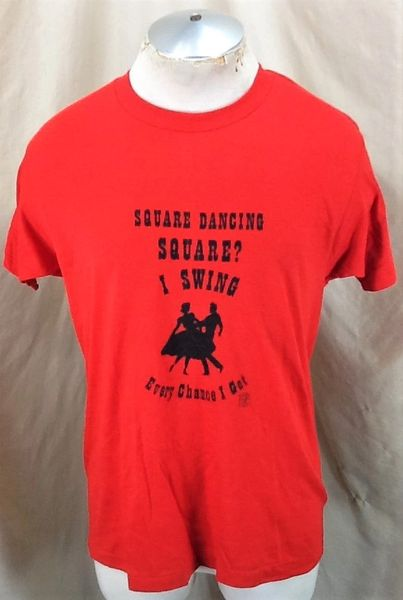 Vintage 80's Square Dancing Square (L/XL) Retro Single Stitch Thin Graphic T-Shirt