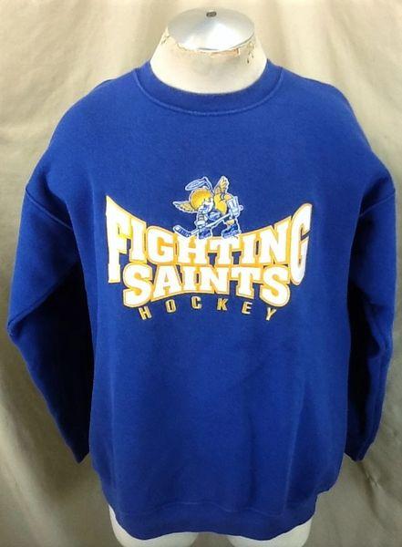 Minnesota Fighting Saints Hockey (Large) Retro Ice Hockey Knit Crew Neck Sweatshirt