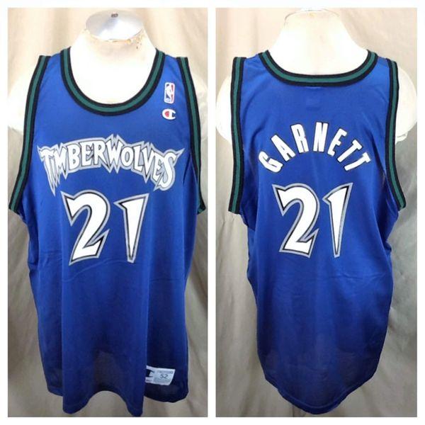 Vintage 90's Champion Kevin Garnett #21 (52/2XL) Minnesota Timberwolves Retro Wolves Blue Jersey