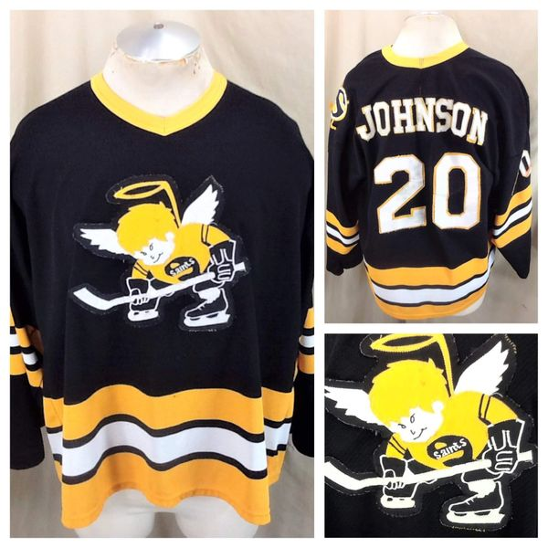 Vintage Minnesota Fighting Saints Jim Johnson #20 (XL) WHA Hockey Alternative Black Jersey