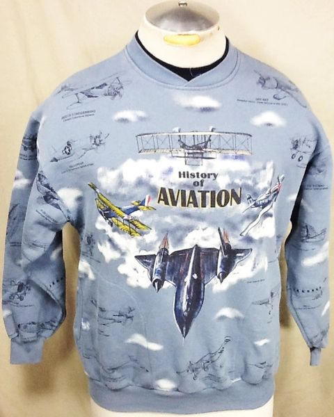"Vintage 90's ""History of Military Aviation"" (Med) Retro Armed Forces Graphic Crew Neck Sweatshirt"
