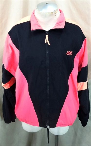 90's Asics Clothing Athletic Wear (XL) Zip Up Fluorescent Work Out Vintage Windbreaker