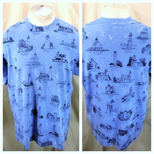 Vintage 90's Michigan Light Houses (XL) Graphic Single Stitch Vacation Shirt