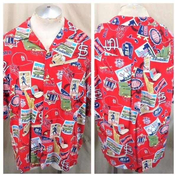 Vintage 90's St. Louis Cardinals Baseball (Large) Button Up Rayon MLB Hawaiian Shirt