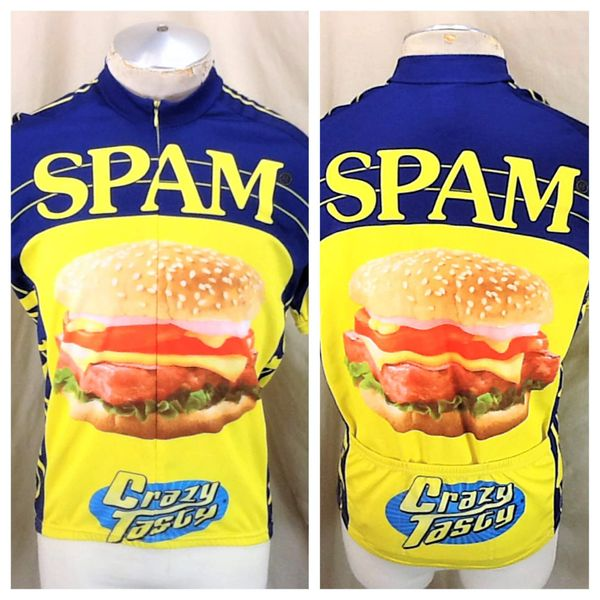 """World Jerseys Spam Meat """"Crazy Tasty"""" (Large) Zip Up All Over Graphic Bike Jersey"""