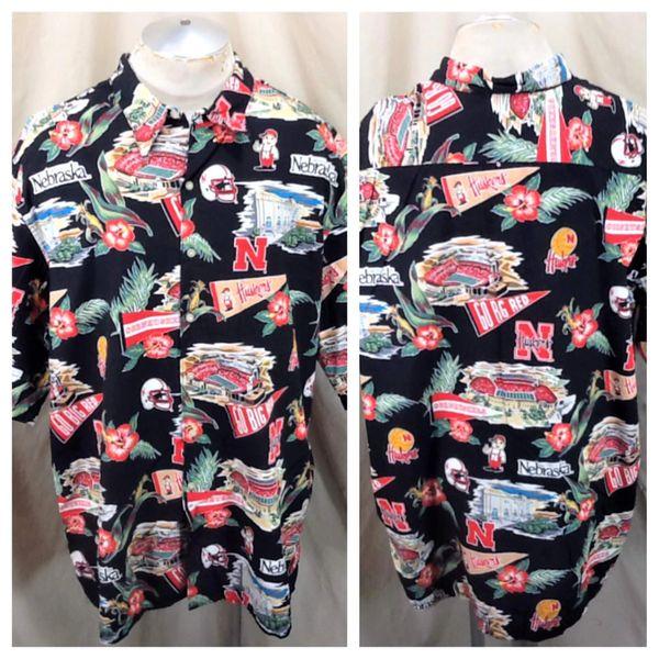 Reyn Spooner Nebraska Cornhuskers (3XL) Huskers Apparel Black Hawaiian Shirt