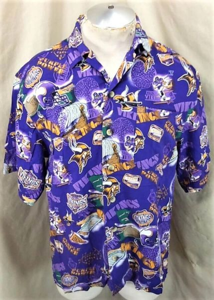Minnesota Vikings Football Club (Med) All Over Graphic NFL Hawaiian Shirt