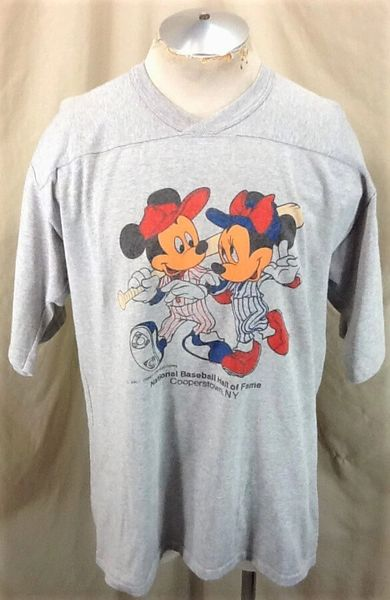 Vintage 80's Mickey Mouse (XL/2XL) Cooperstown Baseball Hall of Fame Heavy T-Shirt