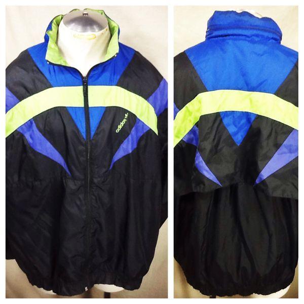 Vintage 90's Adidas active Wear (XL) Retro Zip Up Hip-Hop Windbreaker Jacket