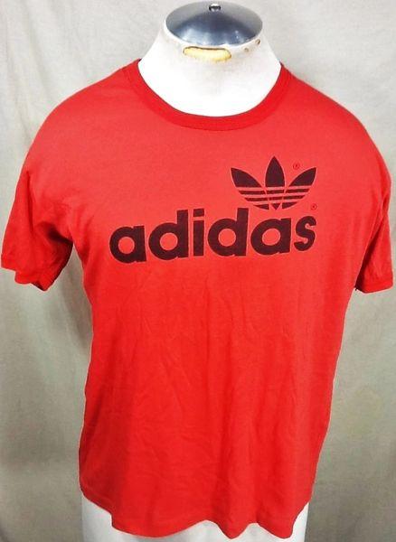 Vintage 80's Adidas Trefoil (Large) Retro Hip-Hop Double Sided Graphic T-Shirt