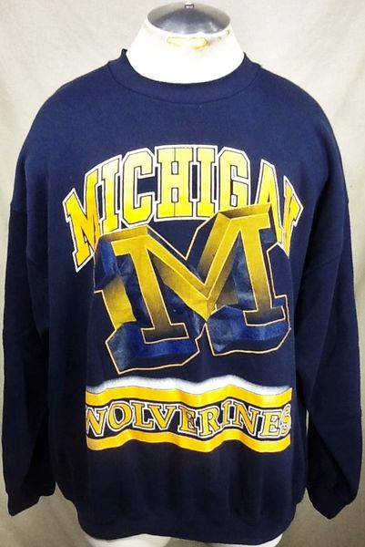 Vintage 90's University of Michigan Wolverines (2XL) Retro NCAA Graphic Crew Neck Blue Sweatshirt