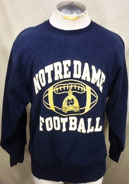 Vintage 90's Champion Notre Dame Fighting Irish (Large) Retro NCAA Crew Neck Sweatshirt