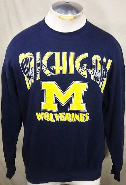 Vintage 90's Nutmeg Michigan Wolverines (Large) Retro Graphic Crew Neck Sweatshirt
