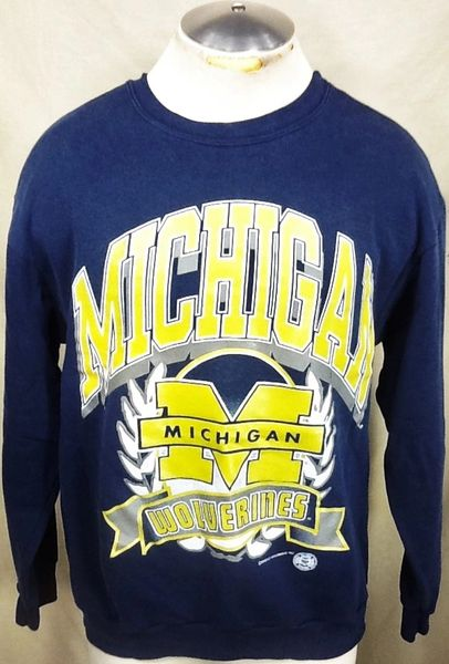 Vintage 1993 University of Michigan Wolverines (Large) Retro NCAA Graphic Crew Neck Sweatshirt