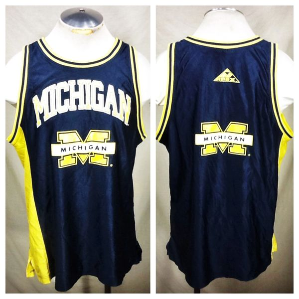 Vintage 90's Apex One Michigan Wolverines (Large) Retro NCAA Graphic Basketball Jersey