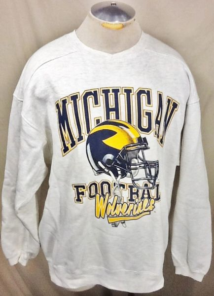 Vintage 90's Michigan Wolverines Football (L/XL) Retro NCAA Graphic Crew Neck Sweatshirt