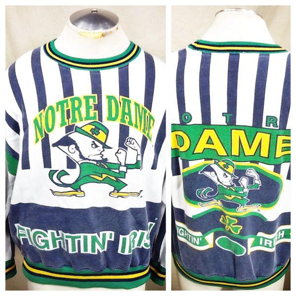 Vintage 90's Nutmeg Notre Dame Fighting Irish (Med) Retro NCAA Crew Neck Graphic Sweatshirt