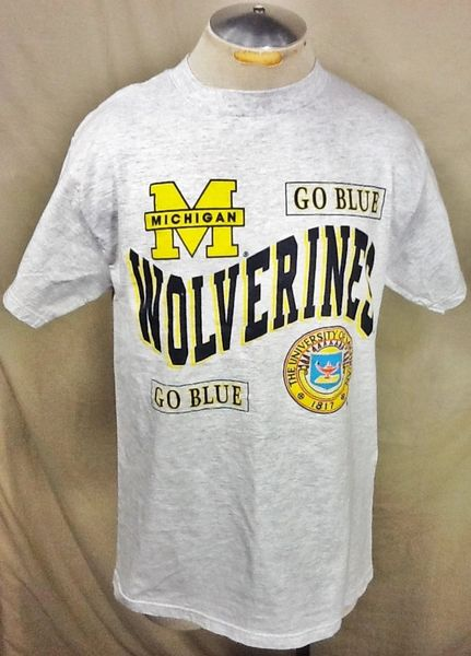"Vintage 90's Tultex Michigan Wolverines ""Go Blue"" (Large) Retro NCAA Graphic Gray T-Shirt"