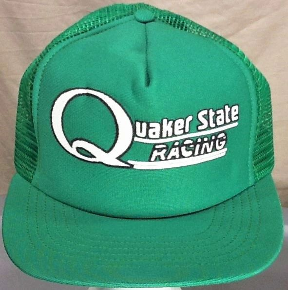 Vintage 1980's Quaker State Racing Gear Heads Retro Snap Back Trucker Hat Green
