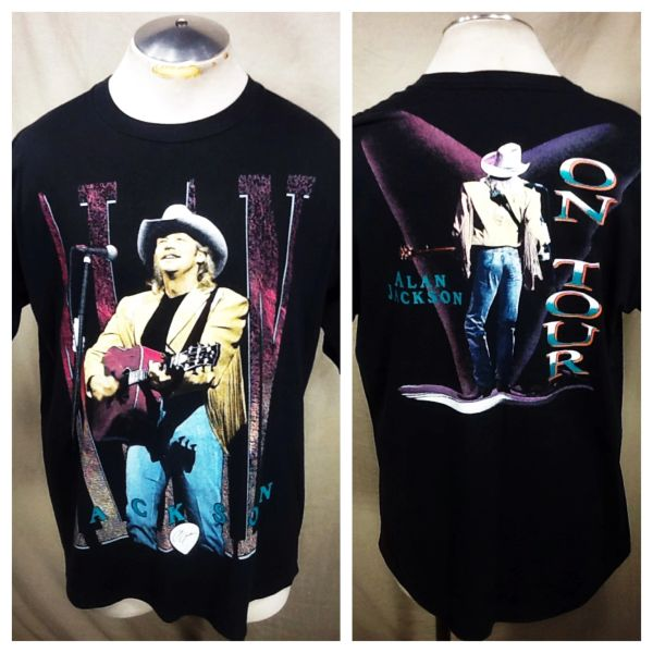 """Vintage 90's Alan Jackson """"On Tour"""" (XL) Graphic Country Band T-Shirt"""