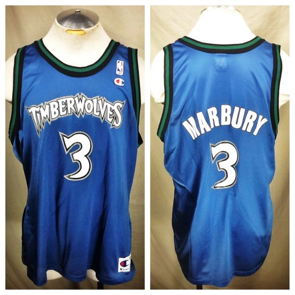 Vintage Champion Stephon Marbury #3 Minnesota Timberwolves (48/Large) Retro Wolves NBA Basketball Jersey
